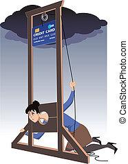 guillotina, tarjeta de crédito