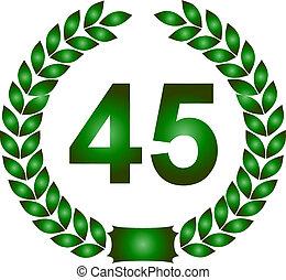 guirnalda laurel, verde, 45, años