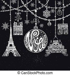 guirnaldas, parís, card., noe, pelota, navidad, tiza, landmark.