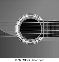 guitarra, acústico, detalle