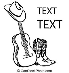 guitarra, boots., dibujado, sombrero, blanco, gráfico, ilustración, vaquero, music., texto, acústico, país, vector, aislado, mano