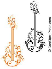 Guitarra con adornos florales