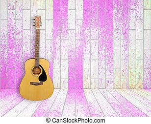 Guitarra en el pasado de la vieja habitación