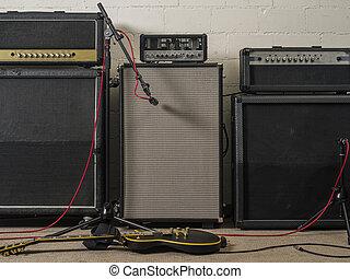guitarra, estudio de grabación, amplificadores