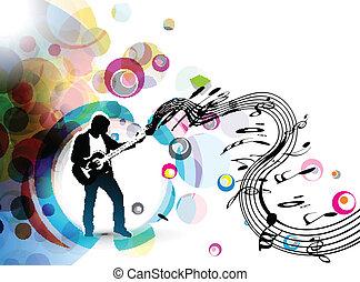 guitarra, músico, juego, hombre