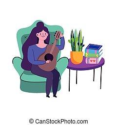 guitarra, mujer, joven, libros, hogar, tabla, estancia, juego, caricatura