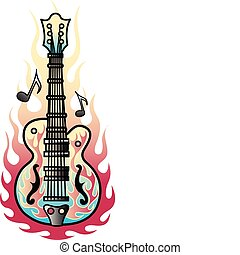 guitarra, tatuaje, diseño, arte, llamas