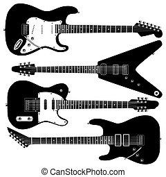 guitarra, vector, eléctrico