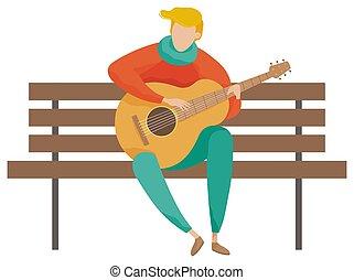 guitarra, vector, músico, banco, juego, de madera