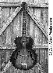 guitarra, vendimia, monocromo, cerca, acústico