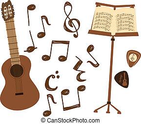 Guitarra y nota de música
