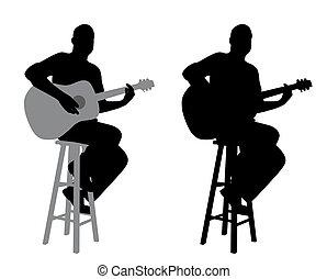 Guitarrista sentado en un taburete
