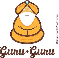 gurú, moderno, meditar, vector, minimalistic, logotipo