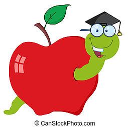 gusano, feliz, graduado, manzana