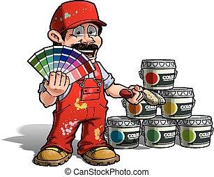 Hábil - color de color uniforme rojo pintor