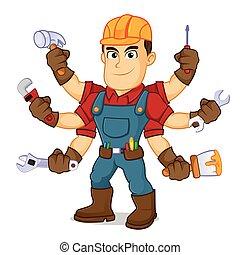 Hábil sosteniendo herramientas mutiples