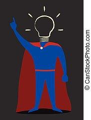Héroe con bombilla dibujada a mano en lugar de cabeza