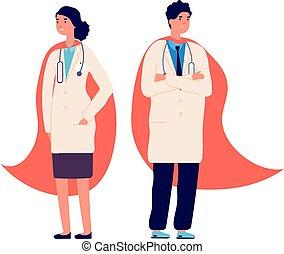 héroe, hospital, medicina, staff., protección, trabajador médico, ilustración, cape., enfermera, rojo, súper, emergencia, atención sanitaria, doctors, equipo, uso, vector, doctor, superhero.
