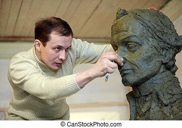 héroe, nacional, -, busto, plasticine, estudio, russia., a.v., modelo, trabaja, suvorov, escultor