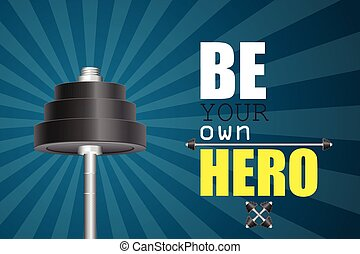 héroe, su, ser, gimnasio, poseer, cartel