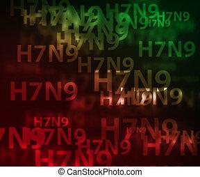 h7n9, aviar, gripe, bokeh, plano de fondo