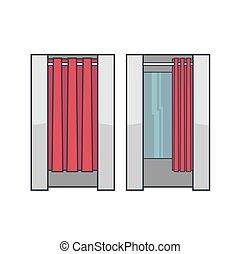habitación, aliño, lineart