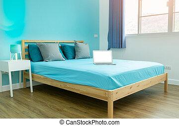 Habitación azul, habitación azul, con accesorios blancos