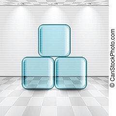 Habitación blanca con platos de vidrio