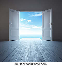 Habitación blanca y vacía con puerta abierta