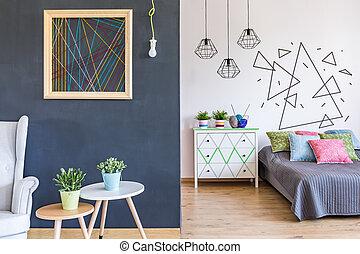 Habitación brillante con sala de estar