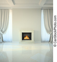 Habitación con estilo clásico con chimenea