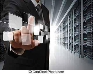 habitación, empresa / negocio, punto, virtual, servidor, botones, hombre