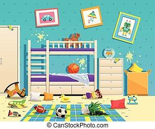 habitación, interior, desordenado, niños