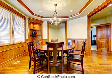 habitación, moldura, cenar, floor., madera, lujo