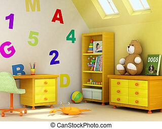 habitación, niños