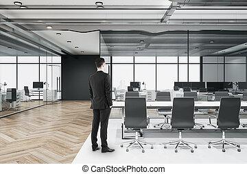 habitación, posición, hombre de negocios, desván, conferencia