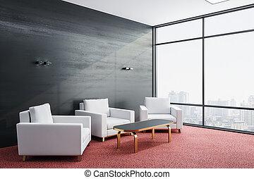 habitación, sillas, contemporáneo, tres, esperar