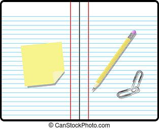 habitación, texto, nota pegajosa, papel cuaderno, composición, su, lápiz