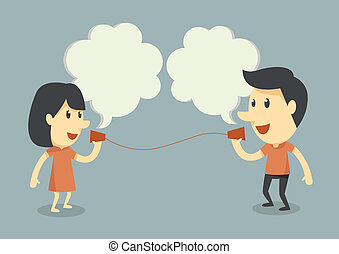 Hablando con el teléfono de la taza