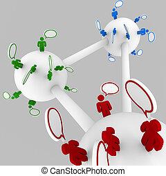 hablar, conectado, grupos, gente