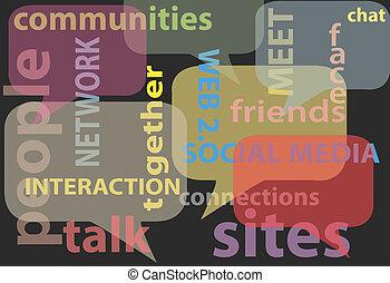 Hablar de la red de medios sociales palabras burbujas