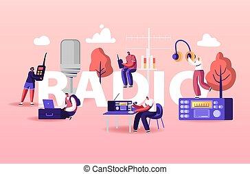 hablar, micrófonos, transmisión, auriculares, concept., dj, caracteres, gente, programa, hembra, macho, radio
