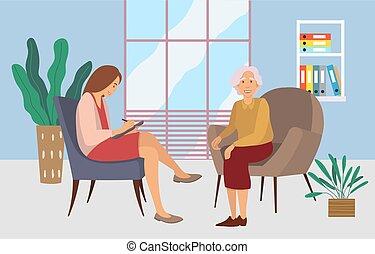 hablar, pacientes, recepción, psicoterapeuta, anciano, psychotherapies., mujer