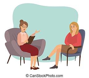 hablar, psicoterapeuta, psychotherapies., psicólogo, recepción, mujer, pacientes, o