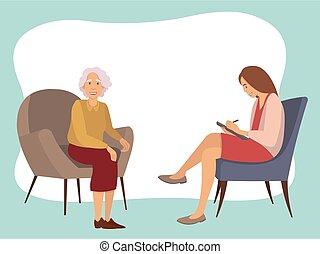 hablar, recepción, psicoterapeuta, anciano, psychotherapies., paciente, mujer