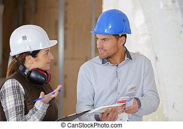 hablar, sobre, trabajadores, proyecto, profesional