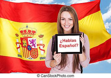 hablar, usted, mujer, preguntar, español