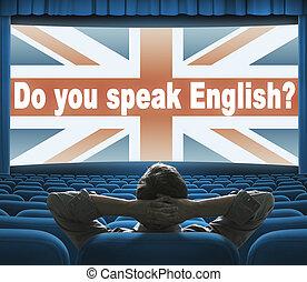 """""""¿Hablas inglés?"""" Frase en la pantalla del cine"""