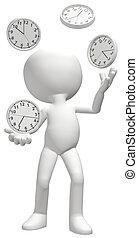 hace juegos malabares, malabarista, horario, manejar, clocks, reloj de tiempo