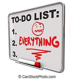 Hacer lista de todos los borradores de la pizarra sobre el estrés